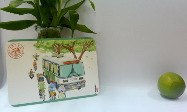 广州怀旧手绘明信片手绘巴士