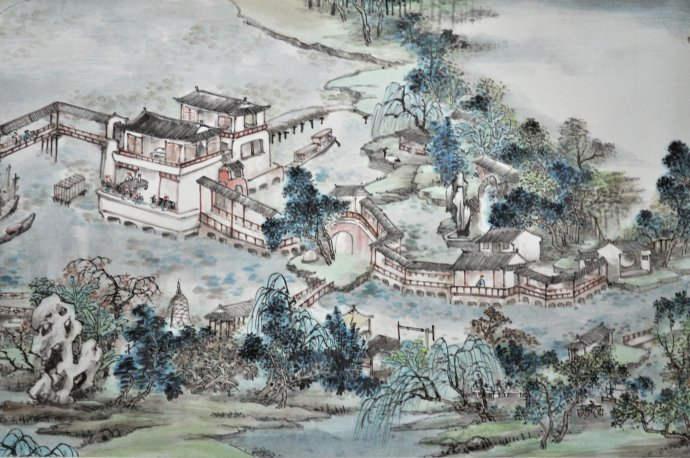 古风街道建筑手绘图片