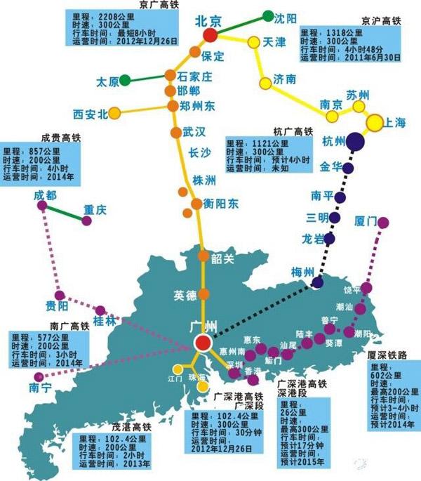 广州南站高铁线路,广州南站高铁旅游