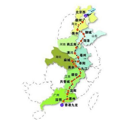 京九高铁都经过哪些城市呢 京九高铁站点线路图