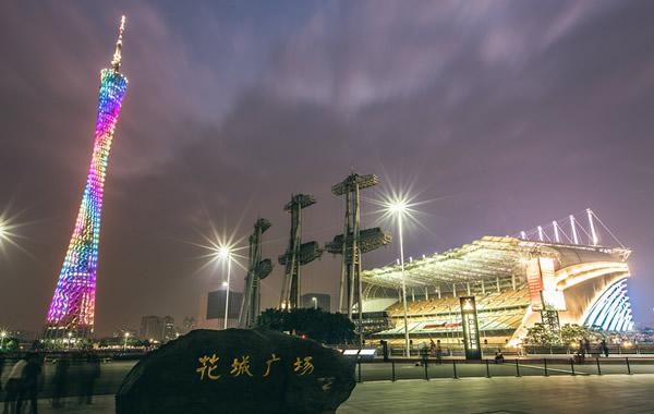 广州周末游好去处:花城广场灯光节