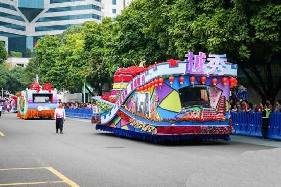 2018广州春节花车大巡游活动在天河拉开帷幕