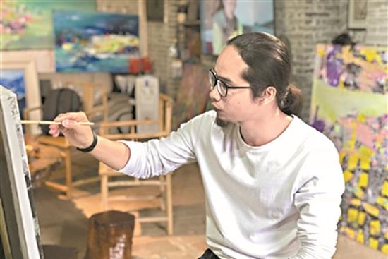 广东抽象表现主义流派画家梁镰芝