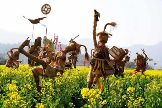 石门森林公园第三届稻草文化艺术节开锣 广州一日游来看长城兵马俑
